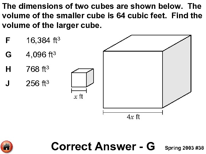The dimensions of two cubes are shown below. The volume of the smaller cube