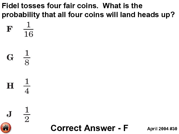 Fidel tosses four fair coins. What is the probability that all four coins will