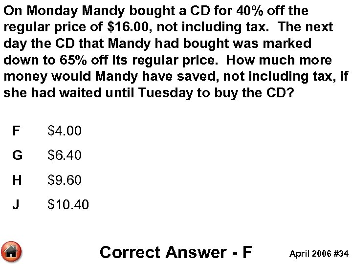 On Monday Mandy bought a CD for 40% off the regular price of $16.
