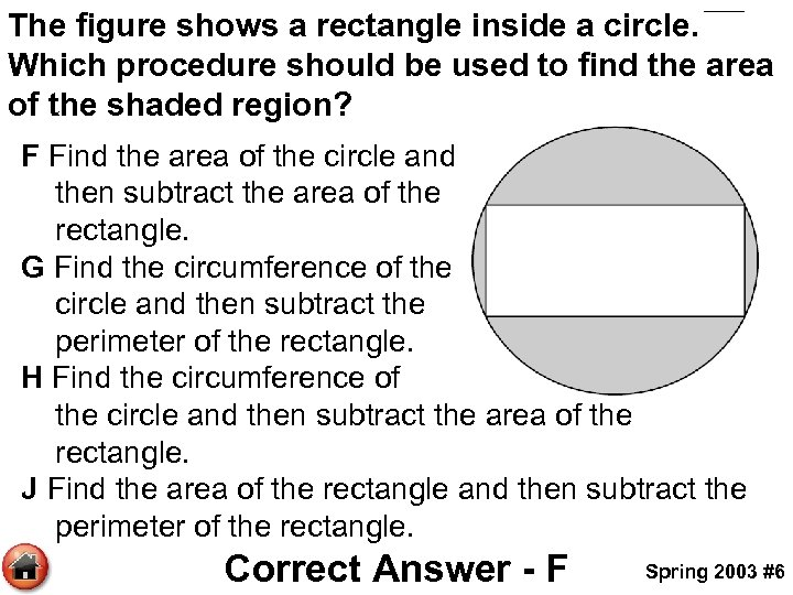 The figure shows a rectangle inside a circle. Which procedure should be used to