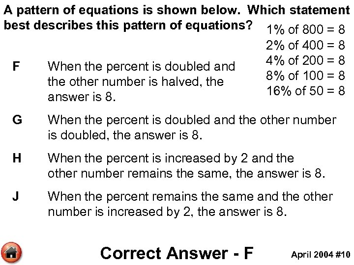 A pattern of equations is shown below. Which statement best describes this pattern of