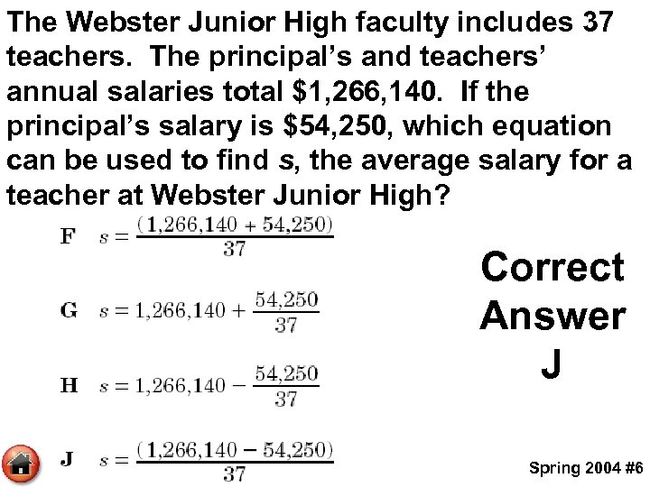 The Webster Junior High faculty includes 37 teachers. The principal's and teachers' annual salaries