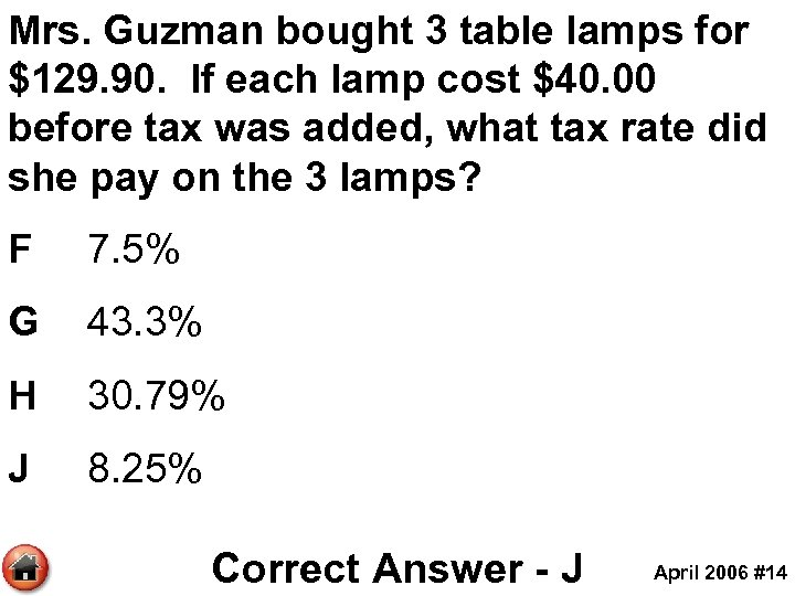 Mrs. Guzman bought 3 table lamps for $129. 90. If each lamp cost $40.