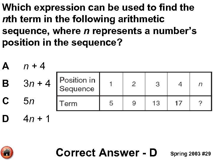Which expression can be used to find the nth term in the following arithmetic