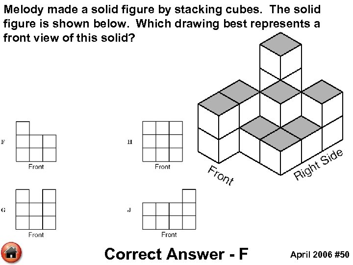 Melody made a solid figure by stacking cubes. The solid figure is shown below.