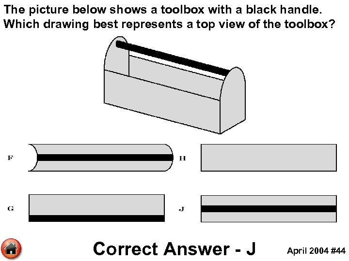 The picture below shows a toolbox with a black handle. Which drawing best represents