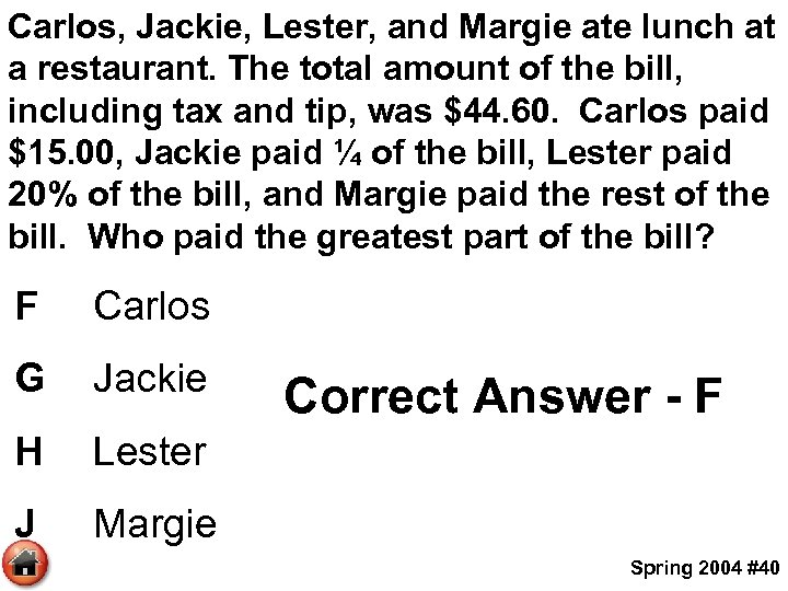 Carlos, Jackie, Lester, and Margie ate lunch at a restaurant. The total amount of
