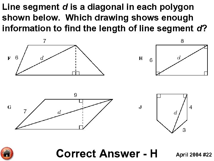 Line segment d is a diagonal in each polygon shown below. Which drawing shows