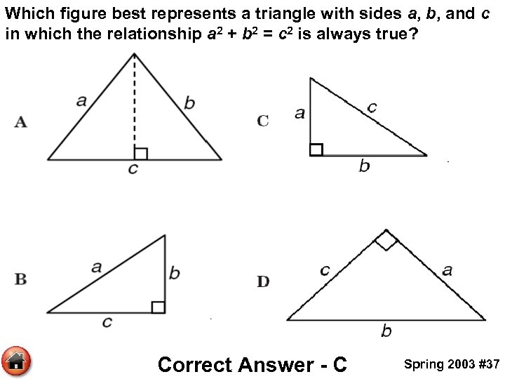 Which figure best represents a triangle with sides a, b, and c in which