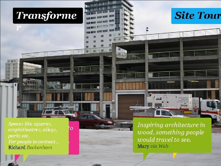 Transforme r Spaces like squares, It would be alleys, amphitheatres, amazing to Preserve remaining