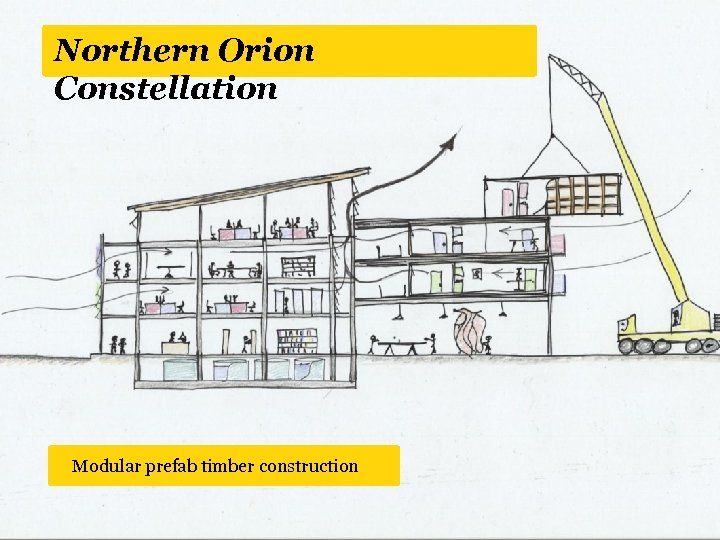 Northern Orion Constellation Green Modular prefab timber construction roof and walls involve residential space
