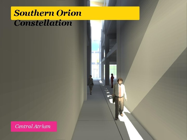 Southern Orion Constellation Active street edge, high stud retail space Central Atrium Slow, tree