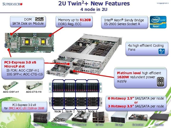 2 U Twin 2+ New Features 4 node in 2 U DOM SATA Disk