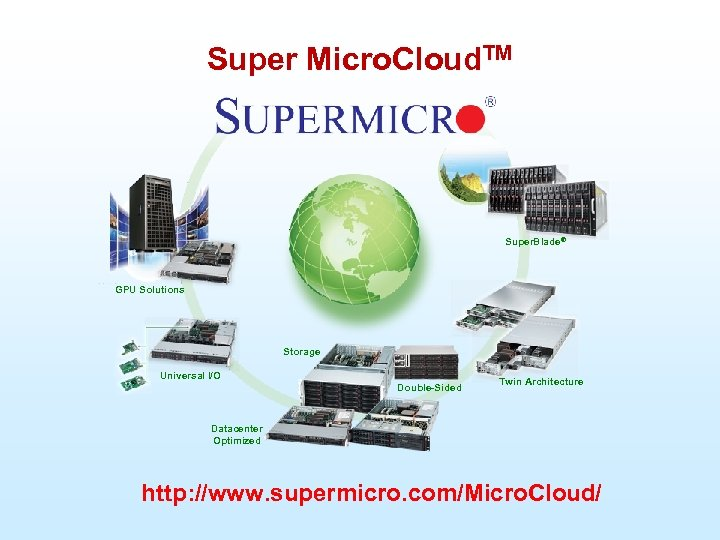 Super Micro. Cloud. TM Super. Blade® GPU Solutions Storage Universal I/O Double-Sided Twin Architecture
