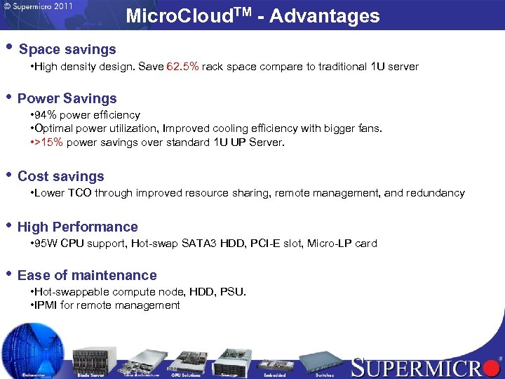 Micro. Cloud. TM - Advantages • Space savings • High density design. Save 62.