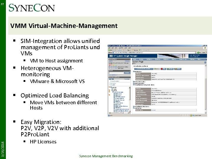 37 VMM Virtual-Machine-Management § SIM-Integration allows unified management of Pro. Liants und VMs §