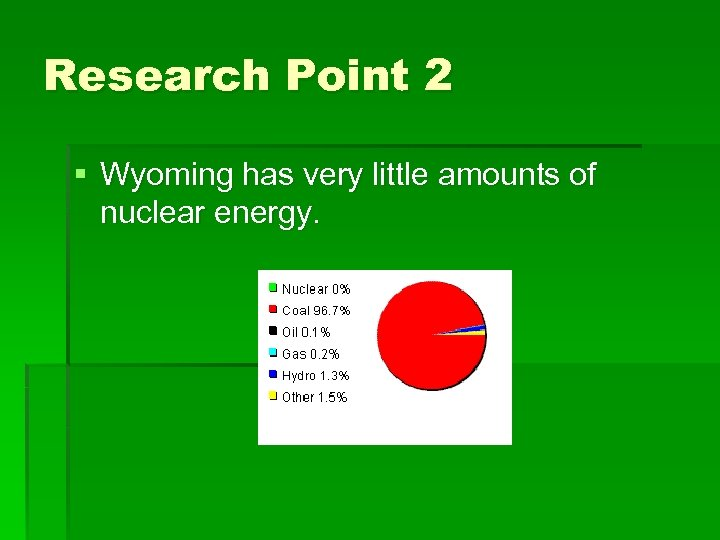 Research Point 2 § Wyoming has very little amounts of nuclear energy.