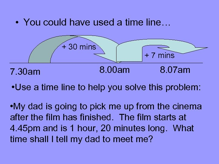 • You could have used a time line… + 30 mins 7. 30