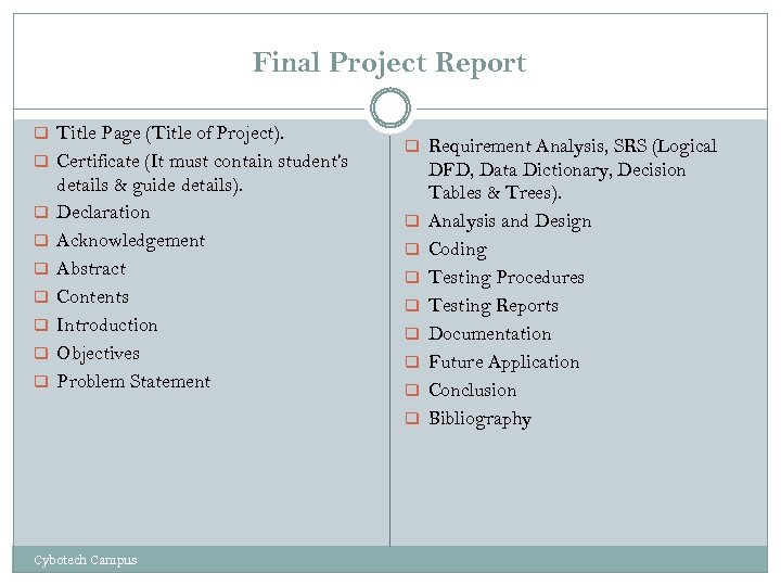 Final Project Report q Title Page (Title of Project). q Certificate (It must contain