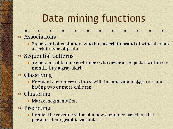Data mining functions Associations 85 percent of customers who buy a certain brand of
