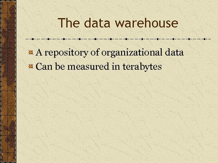 The data warehouse A repository of organizational data Can be measured in terabytes