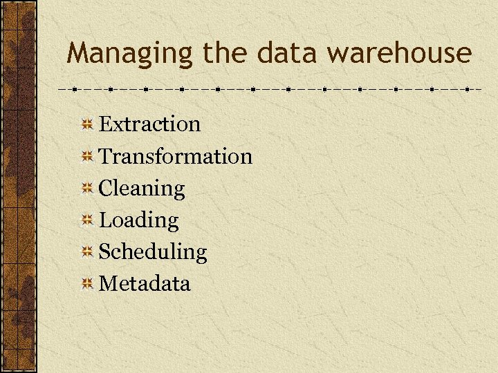 Managing the data warehouse Extraction Transformation Cleaning Loading Scheduling Metadata