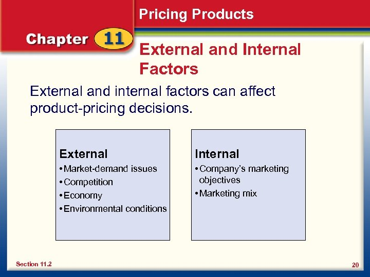 Pricing Products External and Internal Factors External and internal factors can affect product-pricing decisions.