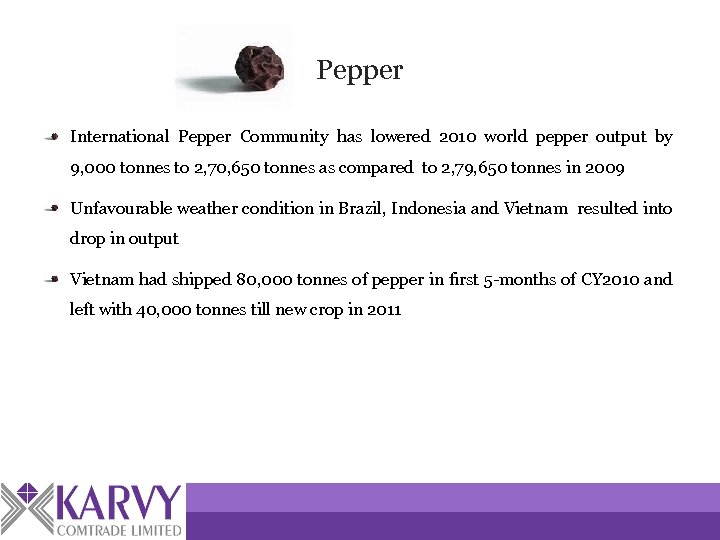Pepper International Pepper Community has lowered 2010 world pepper output by 9, 000 tonnes