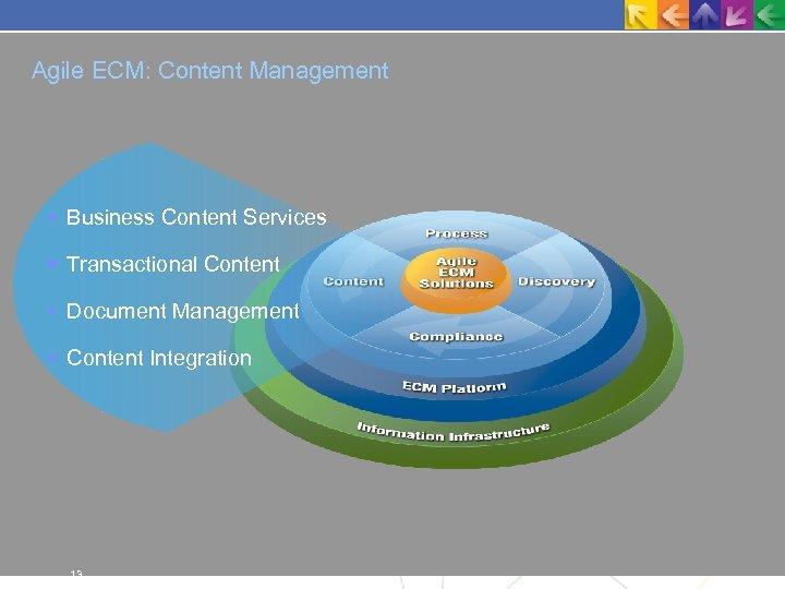 Agile ECM: Content Management Business Content Services Transactional Content Document Management Content Integration 13