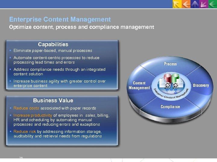 Enterprise Content Management Optimize content, process and compliance management Capabilities Eliminate paper-based, manual processes