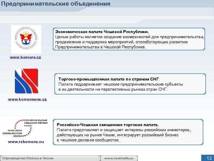 Предпринимательские объединения Экономическая палата Чешской Республики. Целью работы является создание возможностей для предпринимательства, продвижение