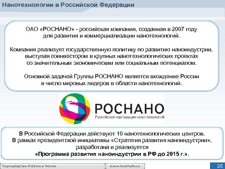 Нанотехнологии в Российской Федерации ОАО «РОСНАНО» - российская компания, созданная в 2007 году для