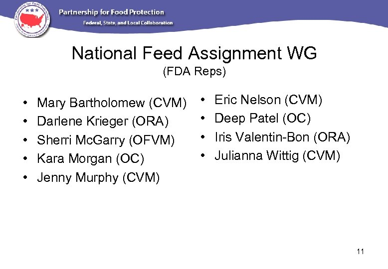 National Feed Assignment WG (FDA Reps) • • • Mary Bartholomew (CVM) Darlene Krieger