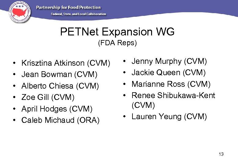 PETNet Expansion WG (FDA Reps) • • • Krisztina Atkinson (CVM) Jean Bowman (CVM)