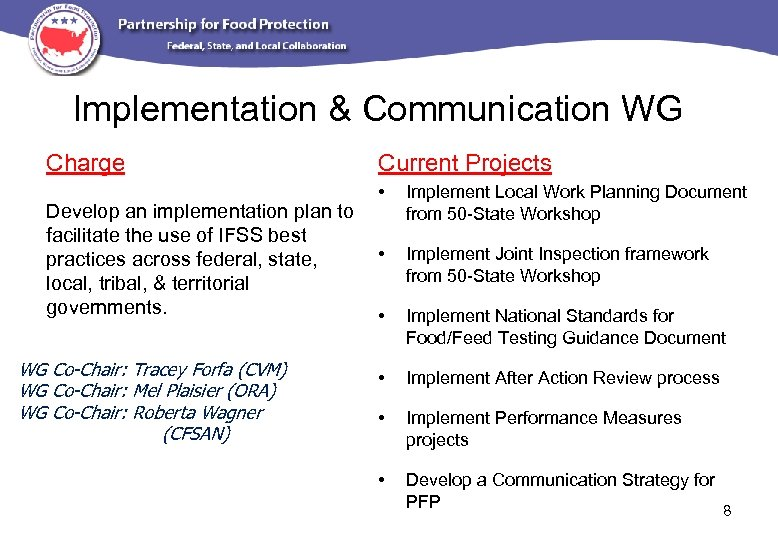 Implementation & Communication WG Charge Current Projects • Develop an implementation plan to facilitate
