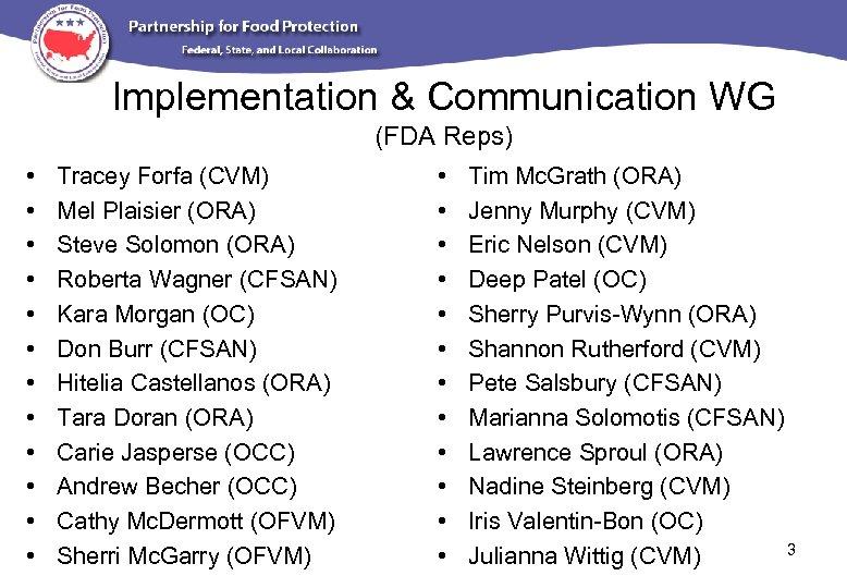 Implementation & Communication WG (FDA Reps) • • • Tracey Forfa (CVM) Mel Plaisier