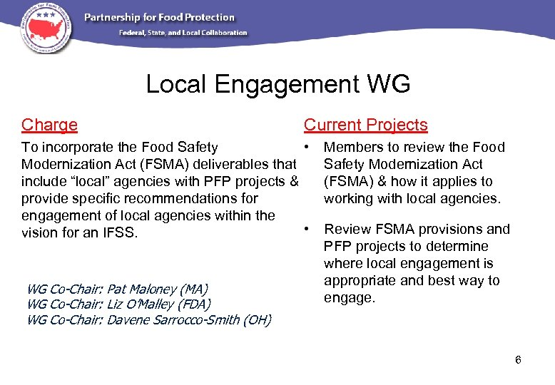 Local Engagement WG Charge Current Projects To incorporate the Food Safety • Modernization Act