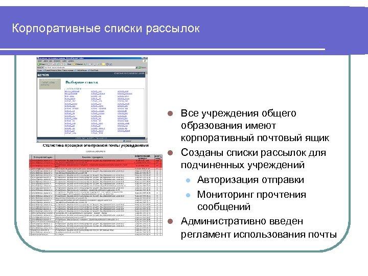 Корпоративные списки рассылок Все учреждения общего образования имеют корпоративный почтовый ящик l Созданы списки