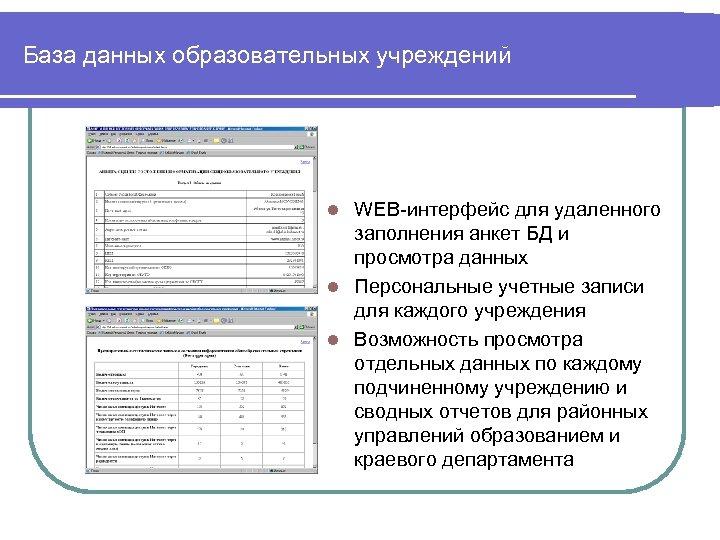 База данных образовательных учреждений WEB-интерфейс для удаленного заполнения анкет БД и просмотра данных l
