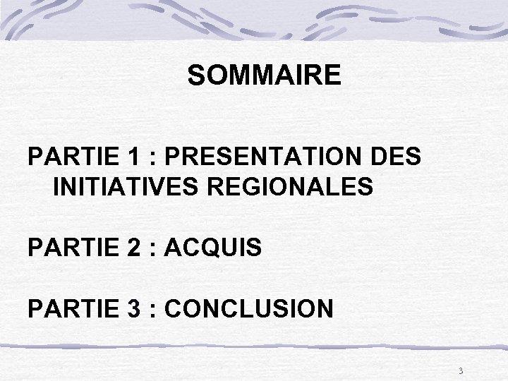 SOMMAIRE PARTIE 1 : PRESENTATION DES INITIATIVES REGIONALES PARTIE 2 : ACQUIS PARTIE 3