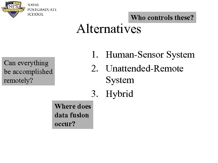 Who controls these? Alternatives 1. Human-Sensor System 2. Unattended-Remote System 3. Hybrid Can everything