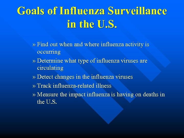 Goals of Influenza Surveillance in the U. S. » Find out when and where