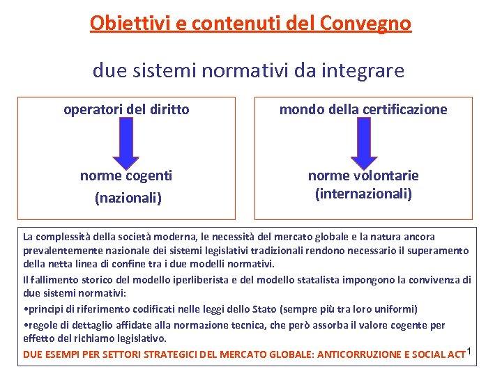 Obiettivi e contenuti del Convegno due sistemi normativi da integrare operatori del diritto mondo