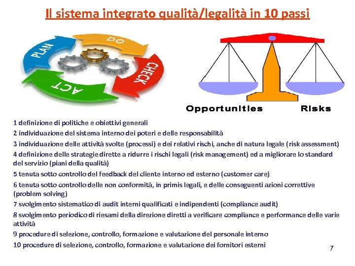 Il sistema integrato qualità/legalità in 10 passi. 1 definizione di politiche e obiettivi generali