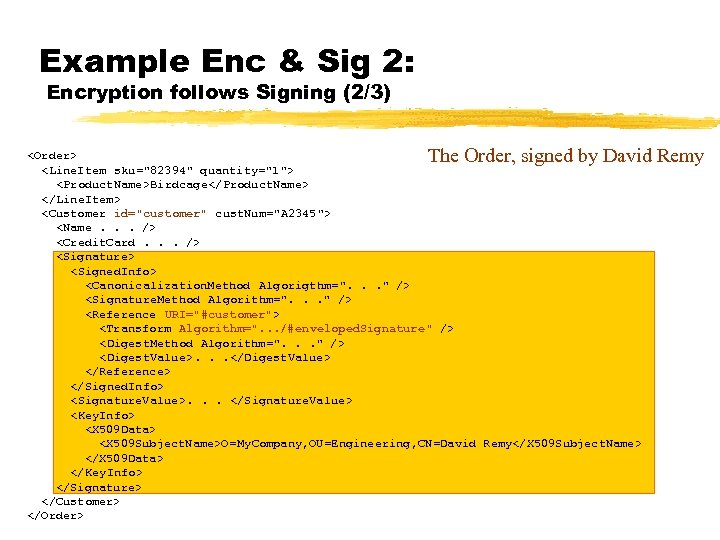 Example Enc & Sig 2: Encryption follows Signing (2/3) The Order, signed by David