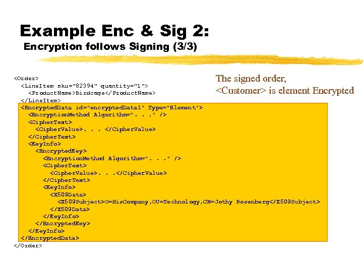 Example Enc & Sig 2: Encryption follows Signing (3/3) The signed order, <Customer> is