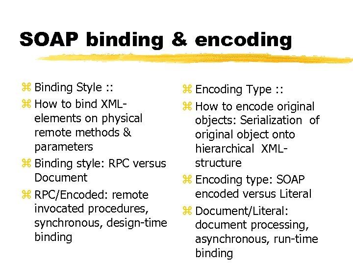 SOAP binding & encoding z Binding Style : : z How to bind XMLelements