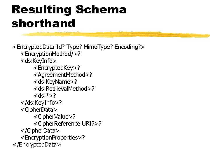 Resulting Schema shorthand <Encrypted. Data Id? Type? Mime. Type? Encoding? > <Encryption. Method/>? <ds: