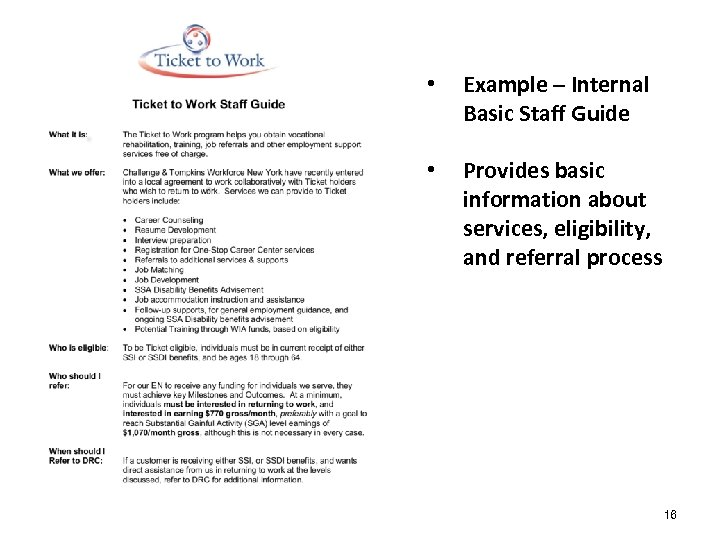 • • # Example – Internal Basic Staff Guide Provides basic information about