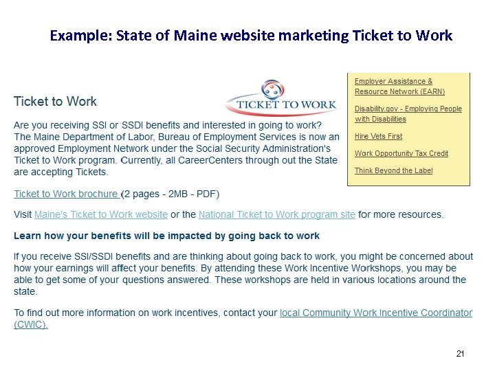 Example: State of Maine website marketing Ticket to Work # 21